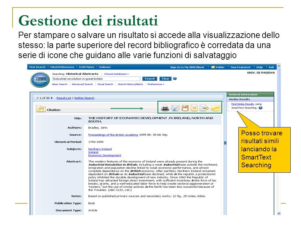 Gestione dei risultati Per stampare o salvare un risultato si accede alla visualizzazione dello stesso: la parte superiore del record bibliografico è