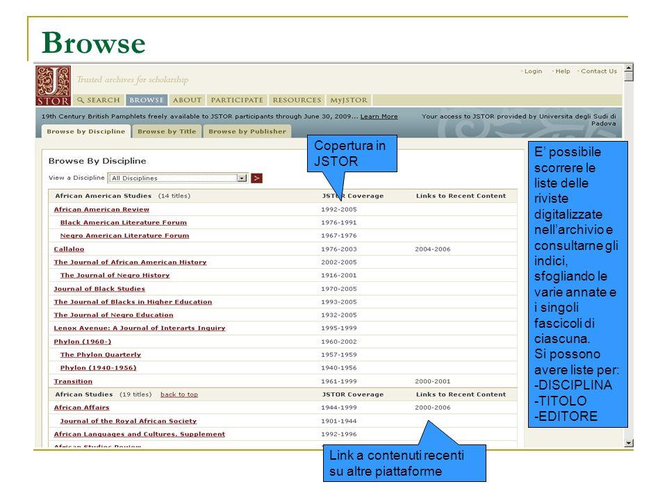 Browse E possibile scorrere le liste delle riviste digitalizzate nellarchivio e consultarne gli indici, sfogliando le varie annate e i singoli fascico