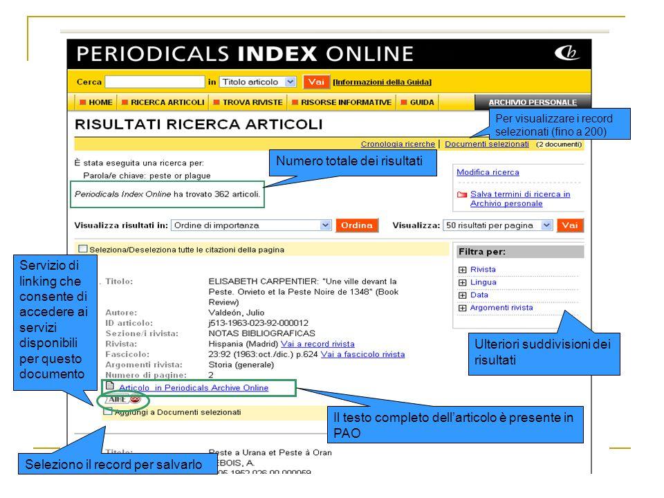 Numero totale dei risultati Servizio di linking che consente di accedere ai servizi disponibili per questo documento Seleziono il record per salvarlo