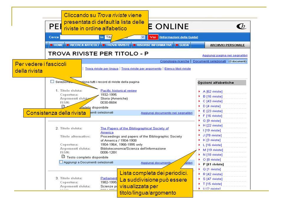 Cliccando su Trova riviste viene presentata di default la lista delle riviste in ordine alfabetico Consistenza della rivista Per vedere i fascicoli de