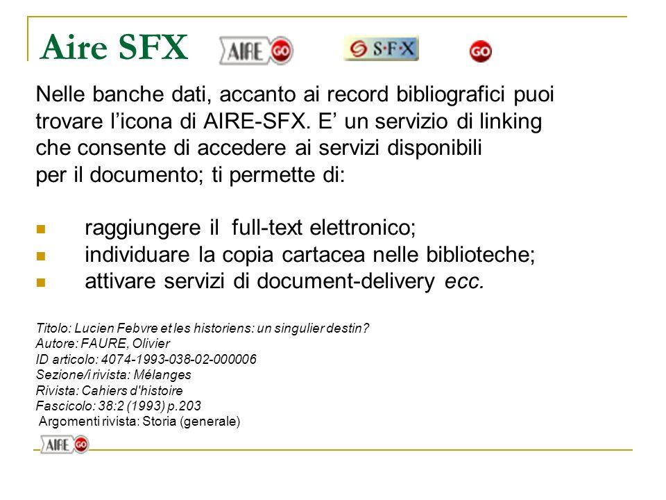 Indexes La banca dati comprende una serie di indici (autore/curatore, tipo di documento, ISSN, titolo della rivista, lingua, termini di soggetto, anno di pubblicazione)