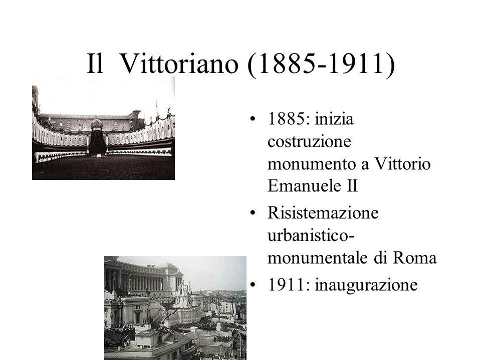 Il Vittoriano (1885-1911) 1885: inizia costruzione monumento a Vittorio Emanuele II Risistemazione urbanistico- monumentale di Roma 1911: inaugurazion