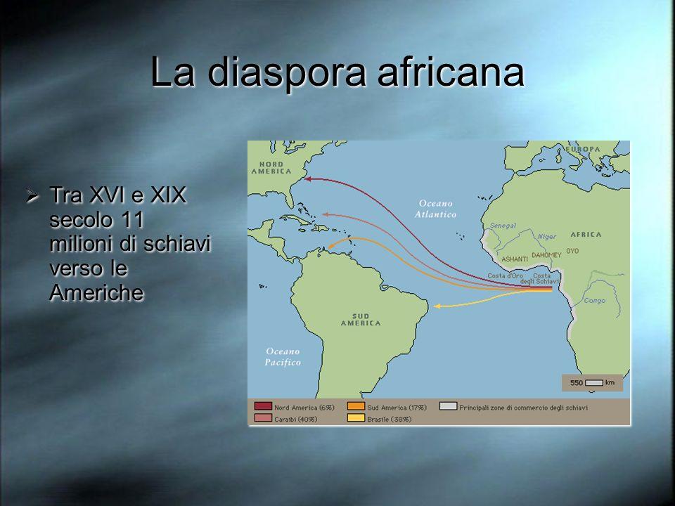 La diaspora africana Tra XVI e XIX secolo 11 milioni di schiavi verso le Americhe