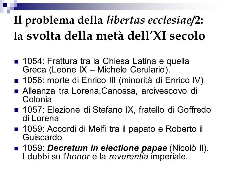 Il problema della libertas ecclesiae /2: la svolta della metà dellXI secolo 1054: Frattura tra la Chiesa Latina e quella Greca (Leone IX – Michele Cerulario).