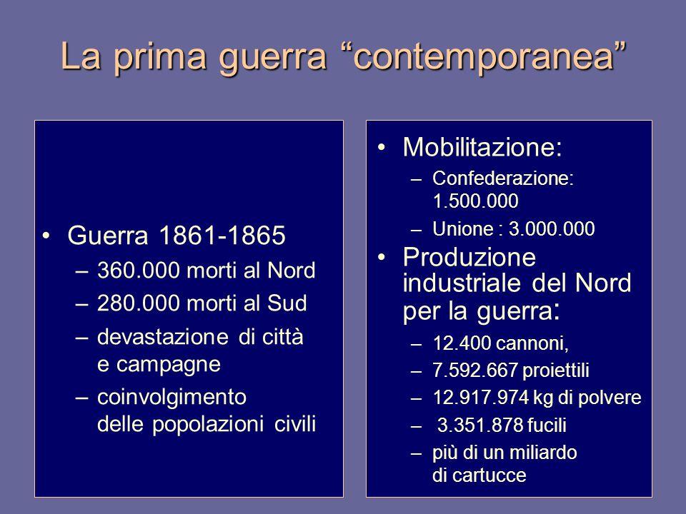 La prima guerra contemporanea Mobilitazione: –Confederazione: 1.500.000 –Unione : 3.000.000 Produzione industriale del Nord per la guerra : –12.400 ca