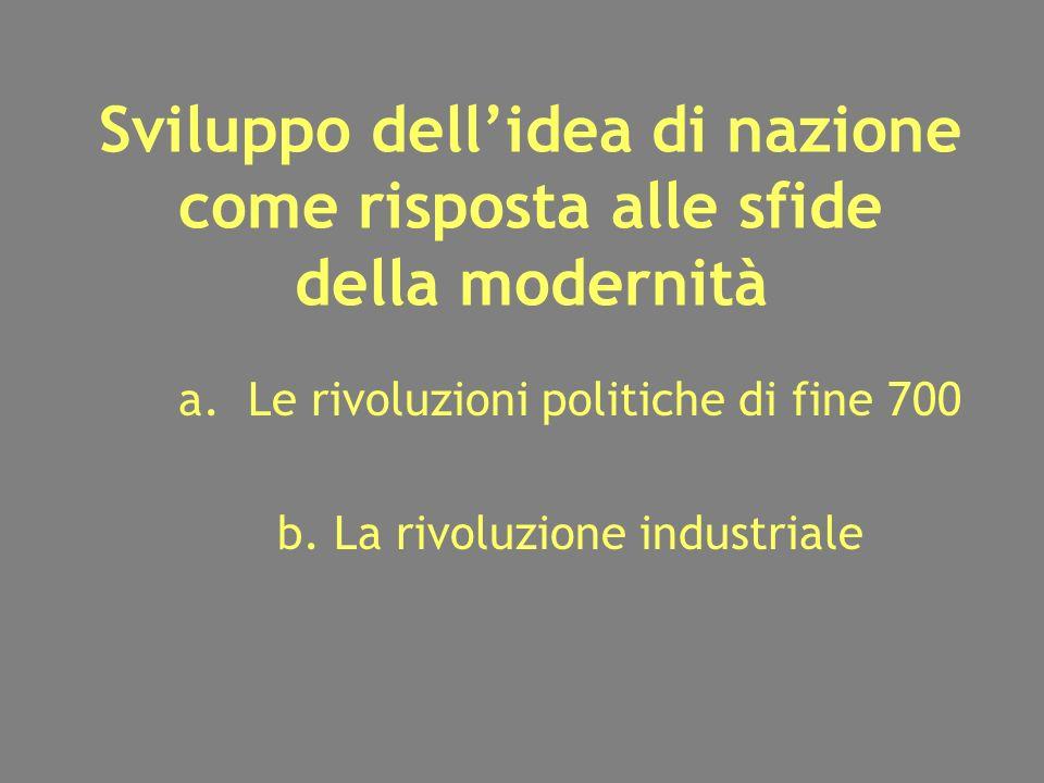 Sviluppo dellidea di nazione come risposta alle sfide della modernità a.Le rivoluzioni politiche di fine 700 b.