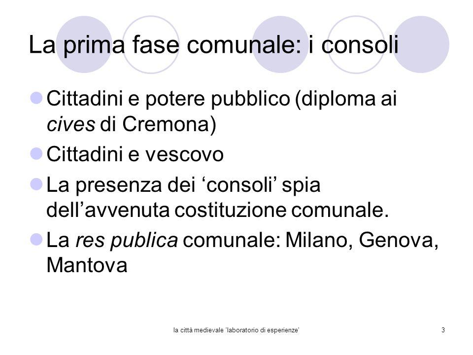 la città medievale 'laboratorio di esperienze'3 La prima fase comunale: i consoli Cittadini e potere pubblico (diploma ai cives di Cremona) Cittadini