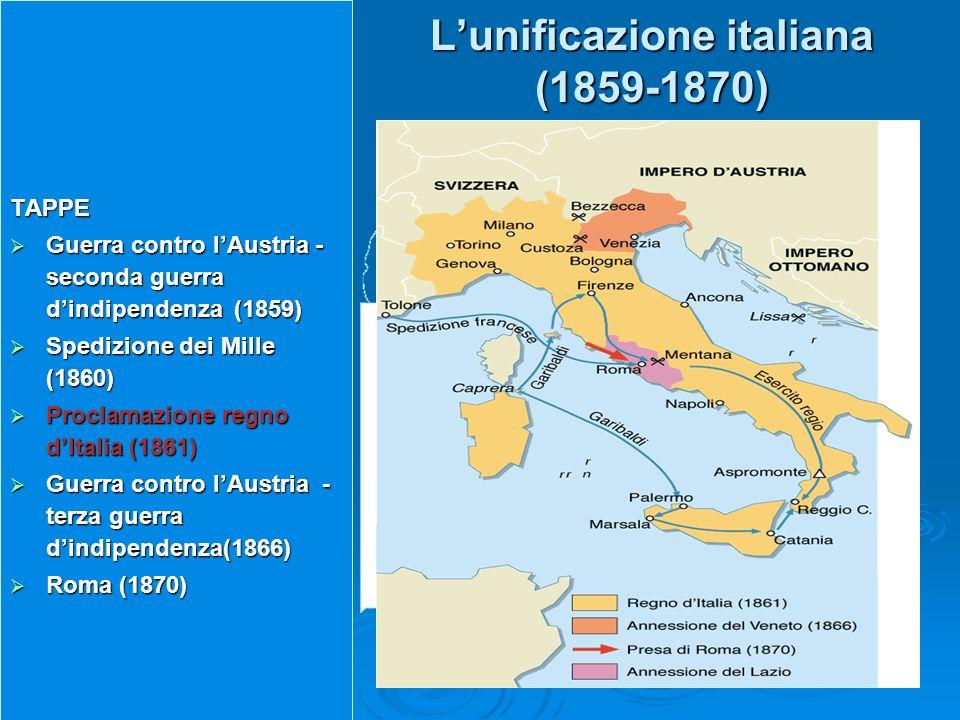 Lunificazione italiana (1859-1870) TAPPE Guerra contro lAustria - seconda guerra dindipendenza (1859) Guerra contro lAustria - seconda guerra dindipen