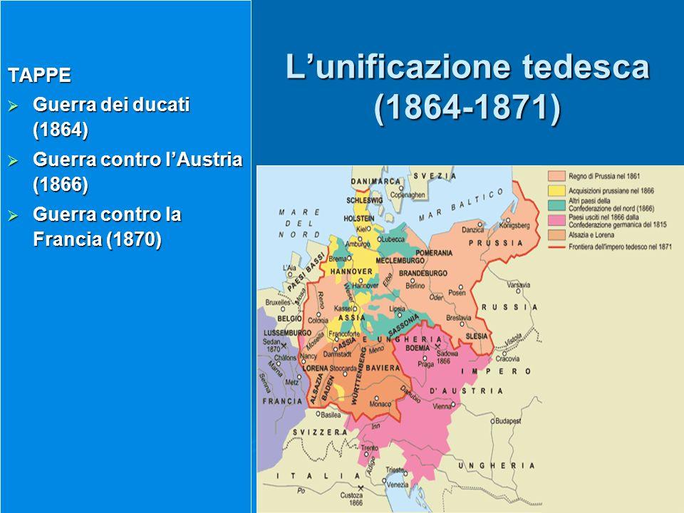 Lunificazione tedesca (1864-1871) TAPPE Guerra dei ducati (1864) Guerra dei ducati (1864) Guerra contro lAustria (1866) Guerra contro lAustria (1866)