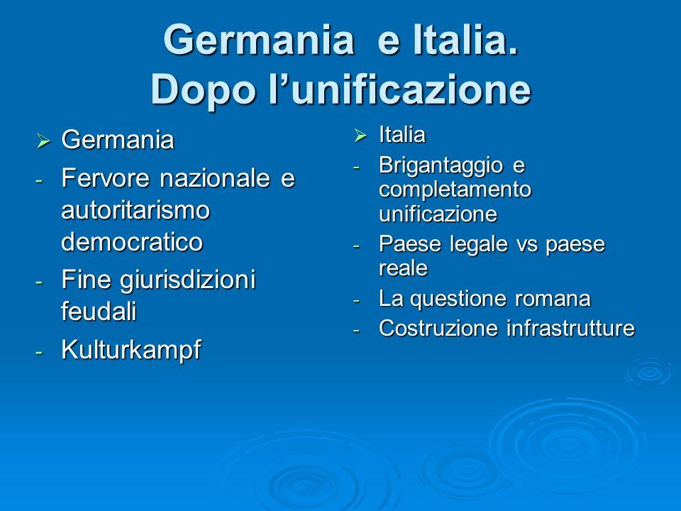 Germania e Italia. Dopo lunificazione Italia Italia - Brigantaggio e completamento unificazione - Paese legale vs paese reale - La questione romana -