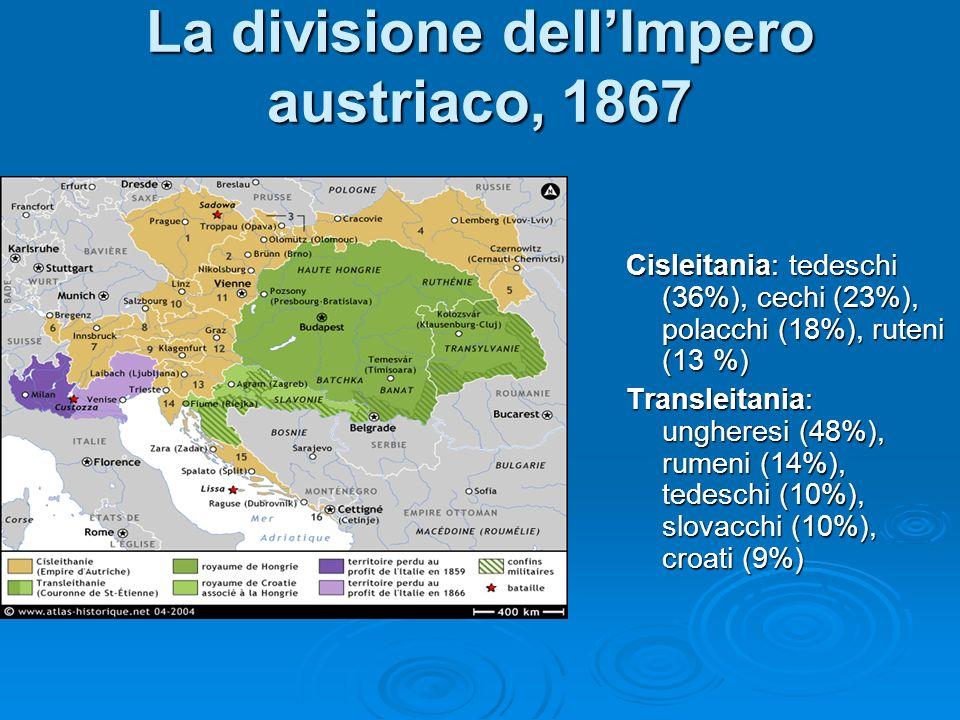La divisione dellImpero austriaco, 1867 Cisleitania: tedeschi (36%), cechi (23%), polacchi (18%), ruteni (13 %) Transleitania: ungheresi (48%), rumeni