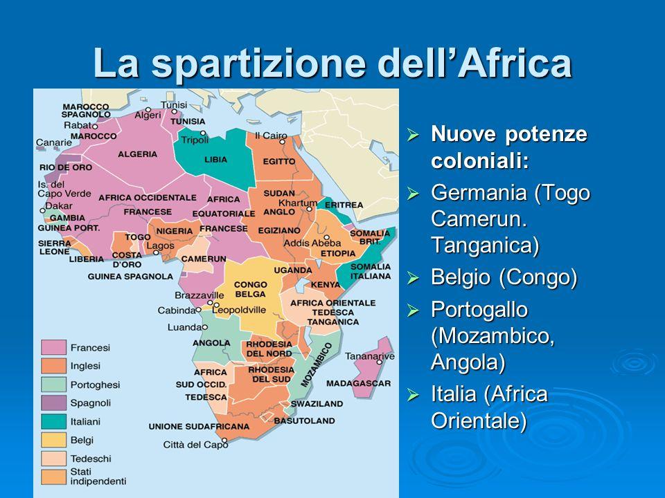 La spartizione dellAfrica Nuove potenze coloniali: Nuove potenze coloniali: Germania (Togo Camerun. Tanganica) Germania (Togo Camerun. Tanganica) Belg