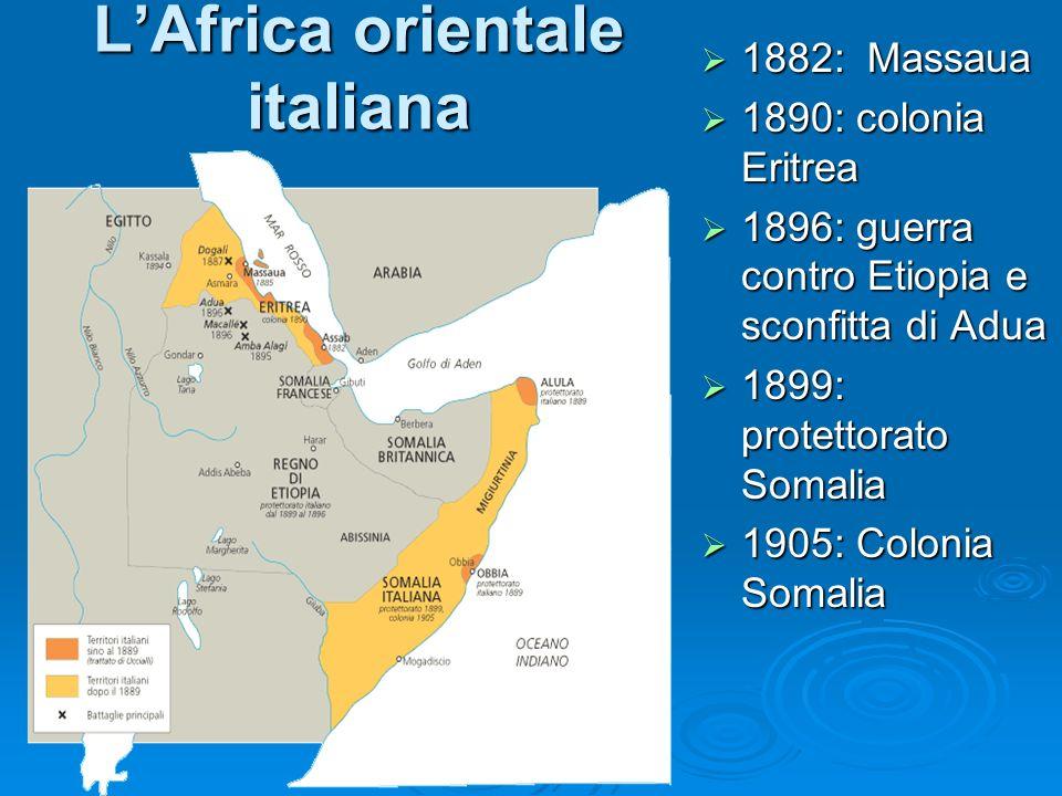 LAfrica orientale italiana 1882: Massaua 1882: Massaua 1890: colonia Eritrea 1890: colonia Eritrea 1896: guerra contro Etiopia e sconfitta di Adua 189