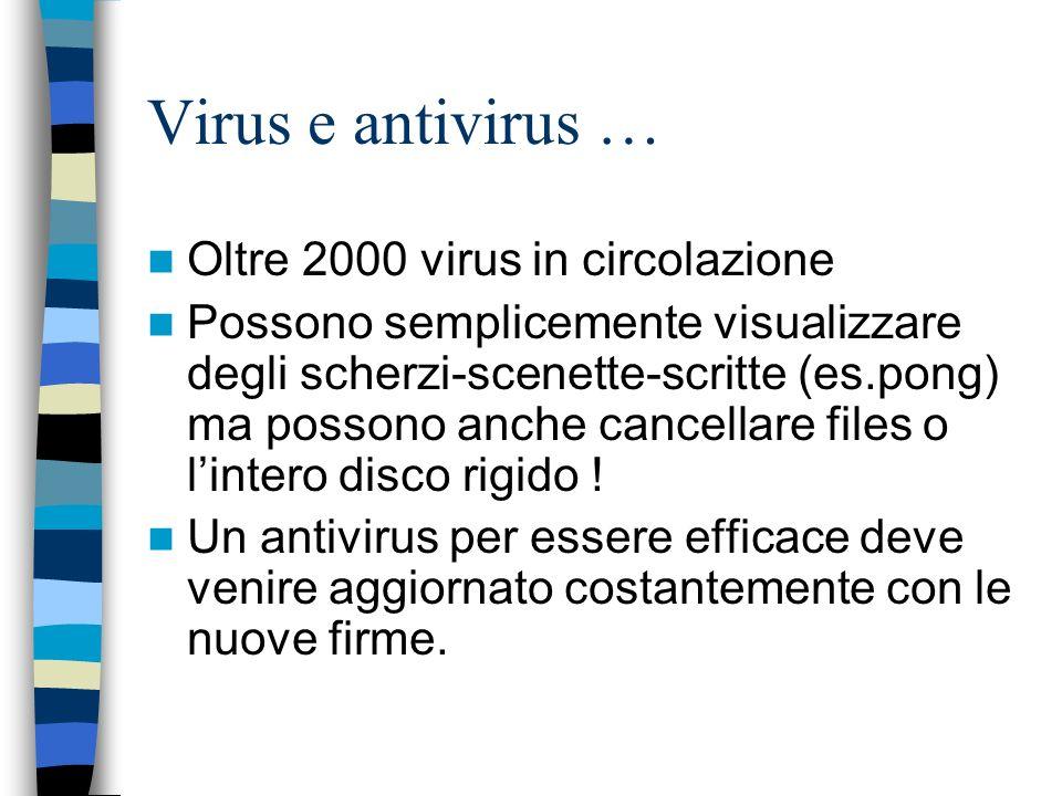 Virus e antivirus … Oltre 2000 virus in circolazione Possono semplicemente visualizzare degli scherzi-scenette-scritte (es.pong) ma possono anche cancellare files o lintero disco rigido .