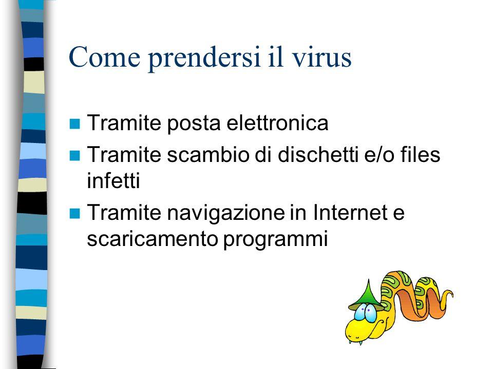Come prendersi il virus Tramite posta elettronica Tramite scambio di dischetti e/o files infetti Tramite navigazione in Internet e scaricamento programmi