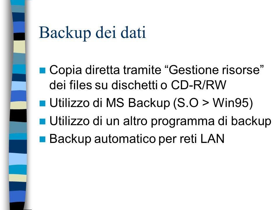 Backup dei dati Copia diretta tramite Gestione risorse dei files su dischetti o CD-R/RW Utilizzo di MS Backup (S.O > Win95) Utilizzo di un altro progr