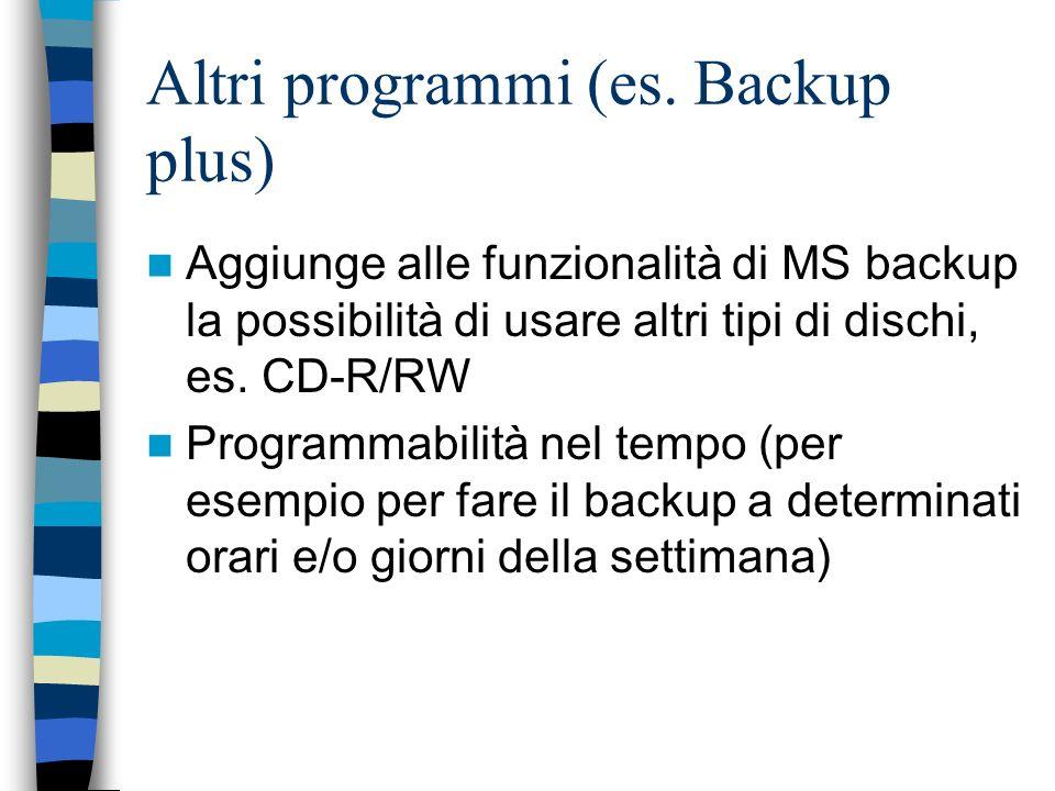 Altri programmi (es. Backup plus) Aggiunge alle funzionalità di MS backup la possibilità di usare altri tipi di dischi, es. CD-R/RW Programmabilità ne