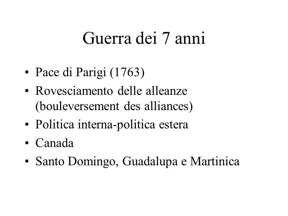 Guerra dei 7 anni Pace di Parigi (1763) Rovesciamento delle alleanze (bouleversement des alliances) Politica interna-politica estera Canada Santo Domi