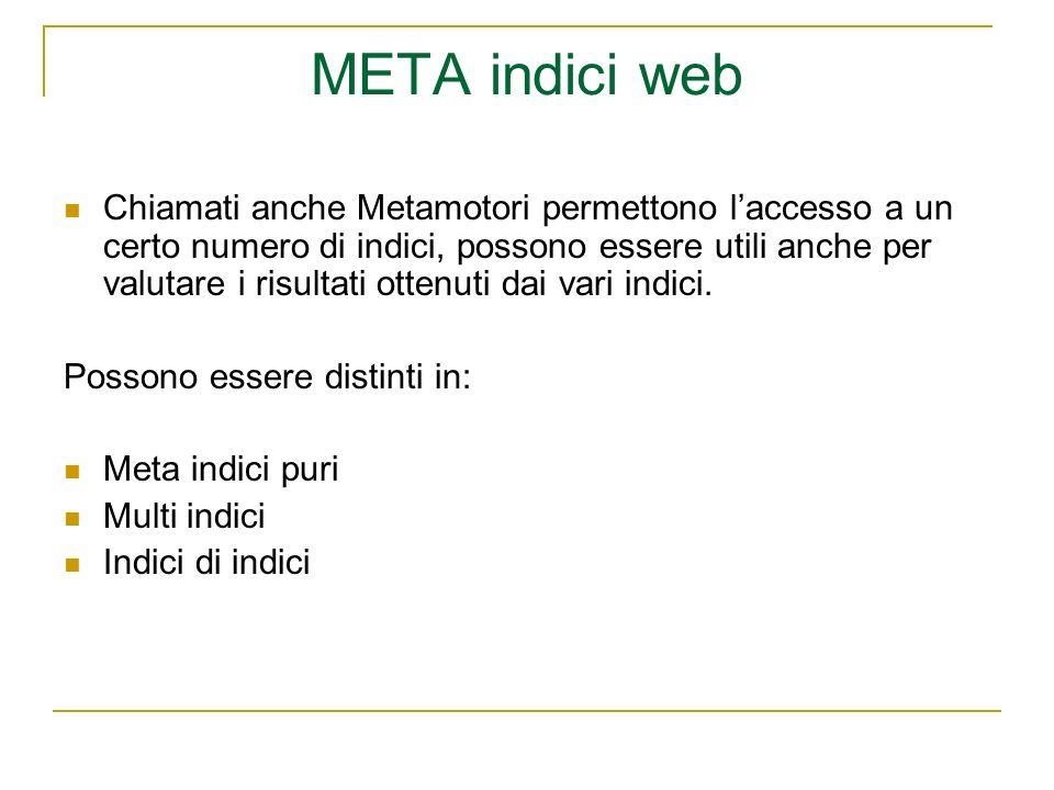 META indici web Chiamati anche Metamotori permettono laccesso a un certo numero di indici, possono essere utili anche per valutare i risultati ottenuti dai vari indici.