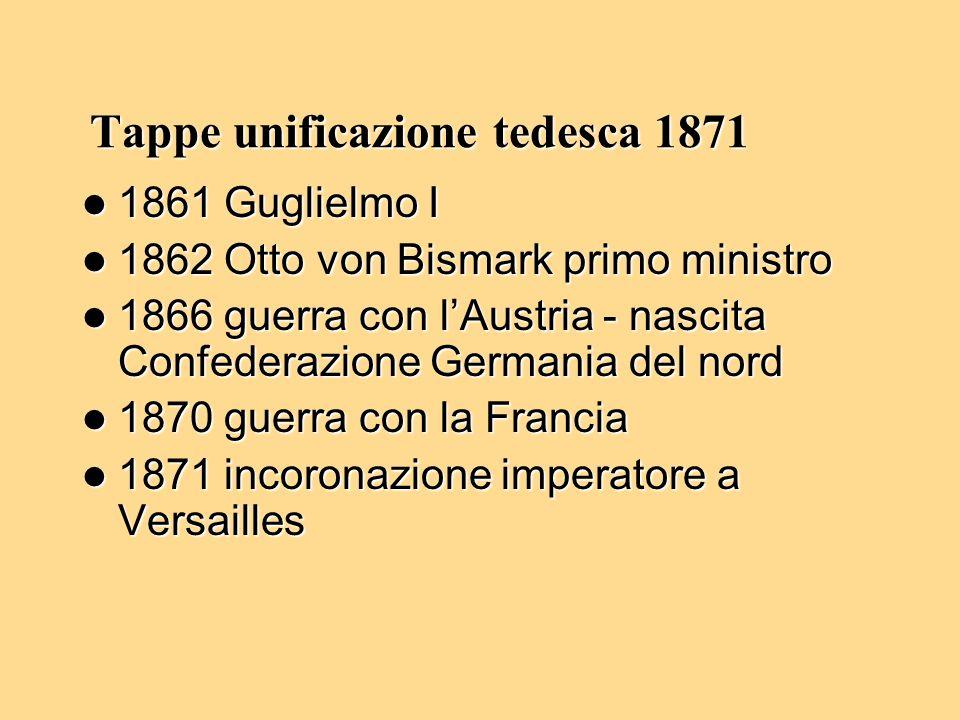 Tappe unificazione tedesca 1871 1861 Guglielmo I 1861 Guglielmo I 1862 Otto von Bismark primo ministro 1862 Otto von Bismark primo ministro 1866 guerr
