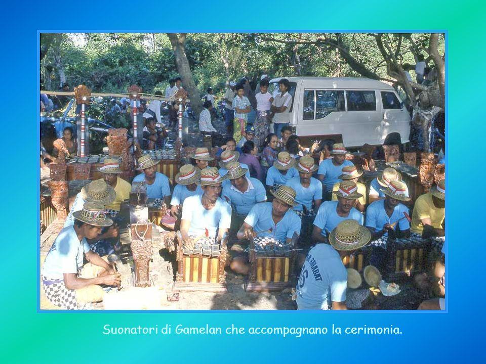 Suonatori di Gamelan che accompagnano la cerimonia.