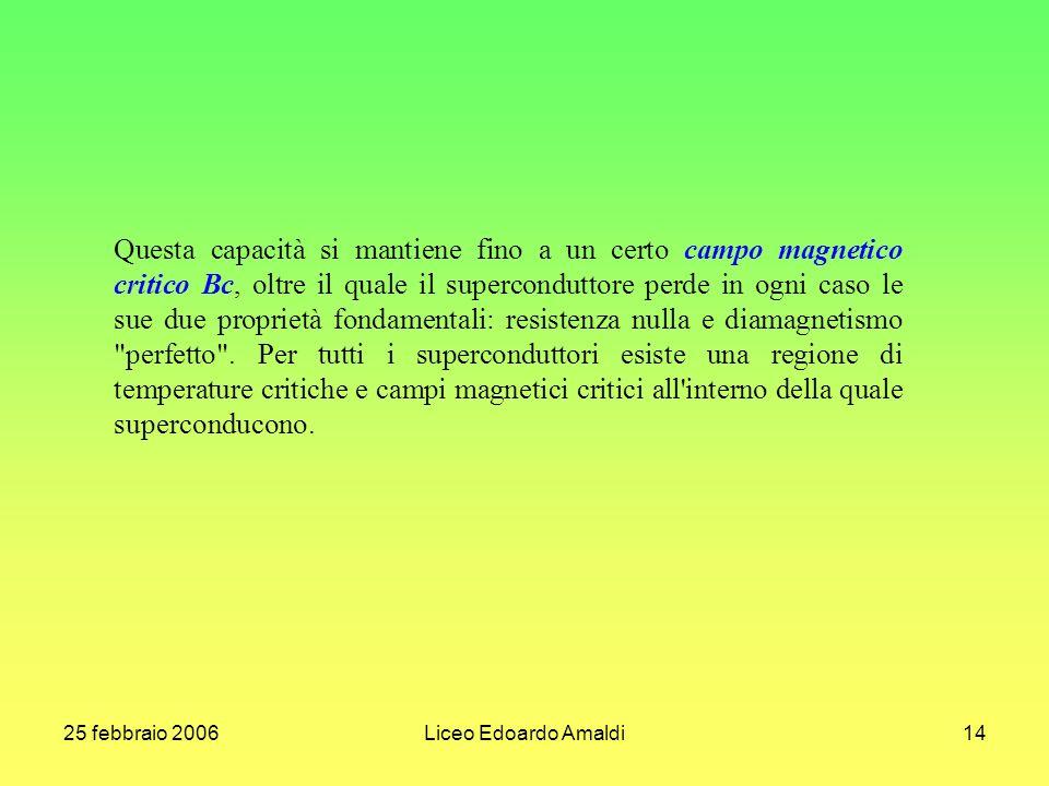 25 febbraio 2006Liceo Edoardo Amaldi14 Questa capacità si mantiene fino a un certo campo magnetico critico Bc, oltre il quale il superconduttore perde in ogni caso le sue due proprietà fondamentali: resistenza nulla e diamagnetismo perfetto .