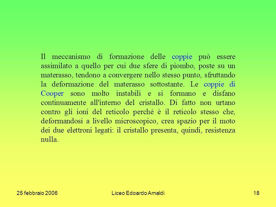 25 febbraio 2006Liceo Edoardo Amaldi18 Il meccanismo di formazione delle coppie può essere assimilato a quello per cui due sfere di piombo, poste su u
