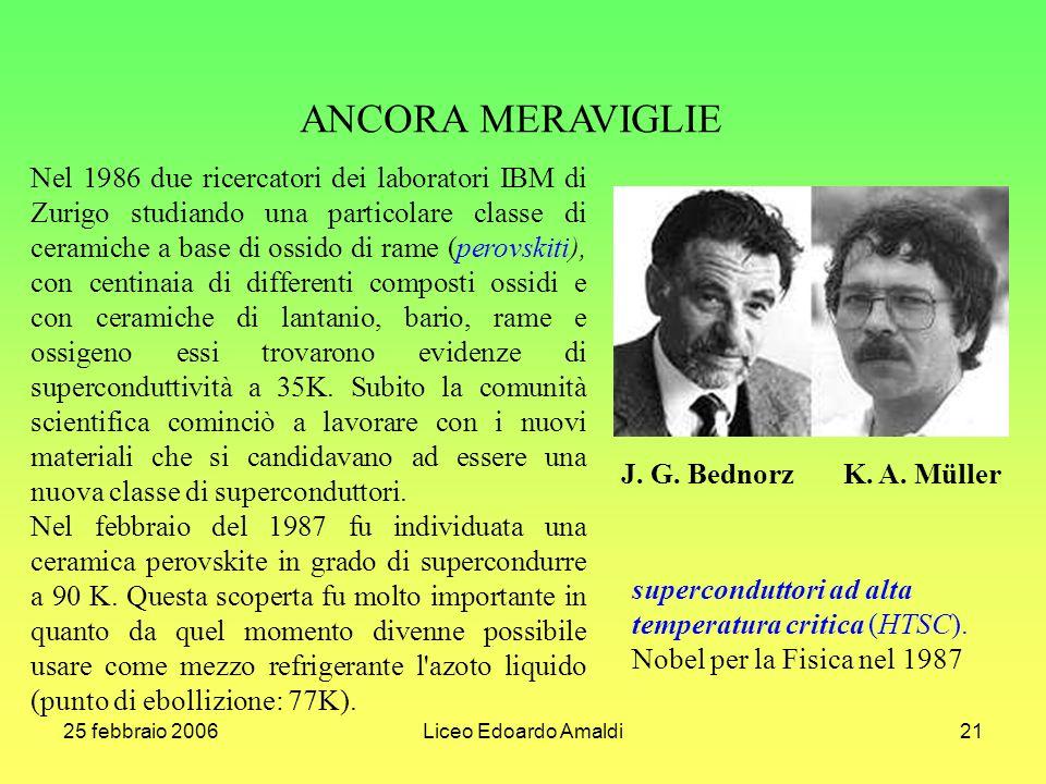 25 febbraio 2006Liceo Edoardo Amaldi21 ANCORA MERAVIGLIE Nel 1986 due ricercatori dei laboratori IBM di Zurigo studiando una particolare classe di ceramiche a base di ossido di rame (perovskiti), con centinaia di differenti composti ossidi e con ceramiche di lantanio, bario, rame e ossigeno essi trovarono evidenze di superconduttività a 35K.