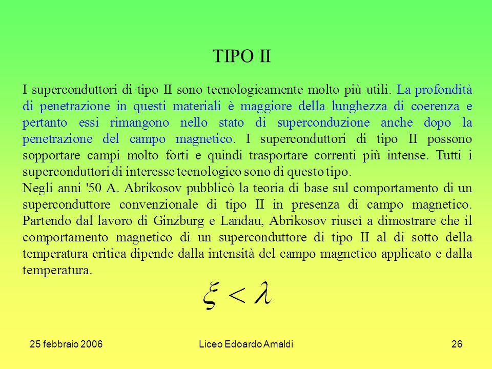 25 febbraio 2006Liceo Edoardo Amaldi26 TIPO II I superconduttori di tipo II sono tecnologicamente molto più utili. La profondità di penetrazione in qu