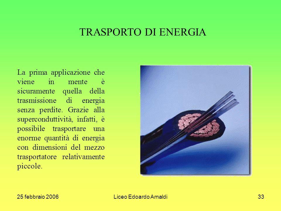 25 febbraio 2006Liceo Edoardo Amaldi33 La prima applicazione che viene in mente è sicuramente quella della trasmissione di energia senza perdite.