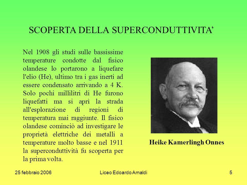 25 febbraio 2006Liceo Edoardo Amaldi5 SCOPERTA DELLA SUPERCONDUTTIVITA Nel 1908 gli studi sulle bassissime temperature condotte dal fisico olandese lo portarono a liquefare l elio (He), ultimo tra i gas inerti ad essere condensato arrivando a 4 K.