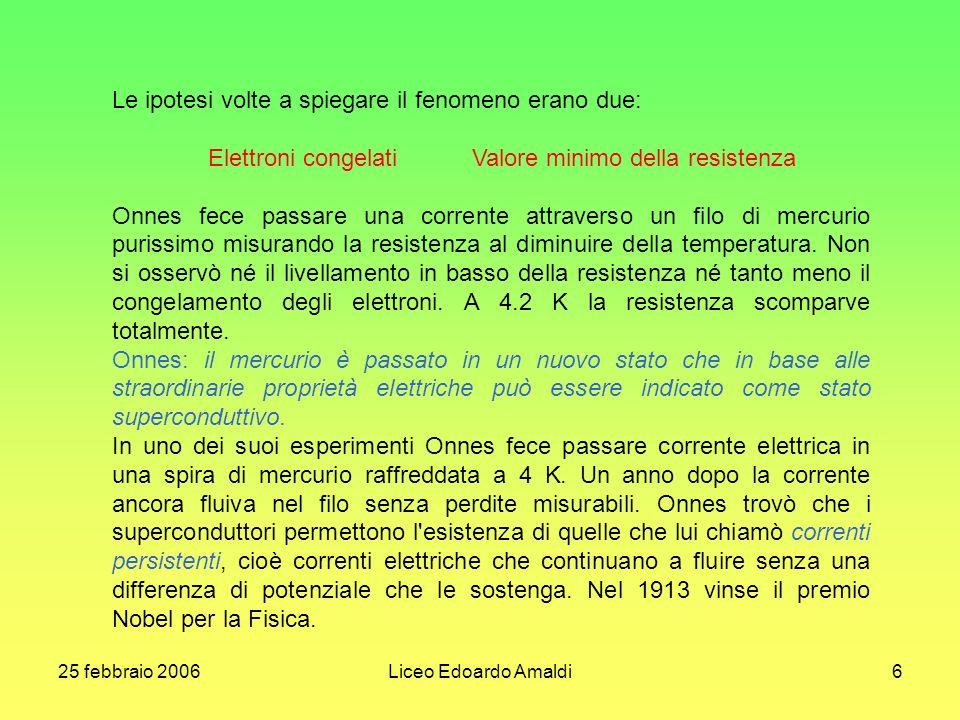 25 febbraio 2006Liceo Edoardo Amaldi6 Le ipotesi volte a spiegare il fenomeno erano due: Elettroni congelati Valore minimo della resistenza Onnes fece