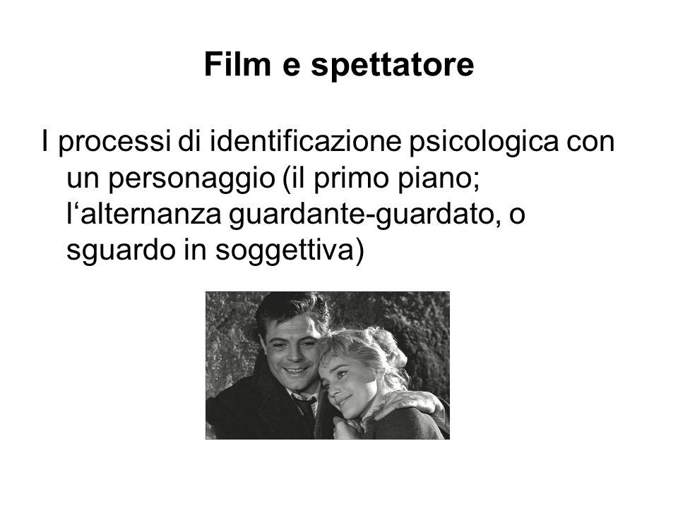 Film e spettatore I processi di identificazione psicologica con un personaggio (il primo piano; lalternanza guardante-guardato, o sguardo in soggettiv