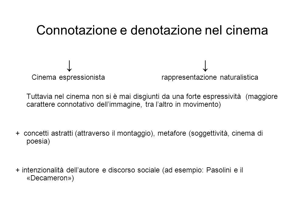 Connotazione e denotazione nel cinema Cinema espressionistarappresentazione naturalistica Tuttavia nel cinema non si è mai disgiunti da una forte espr