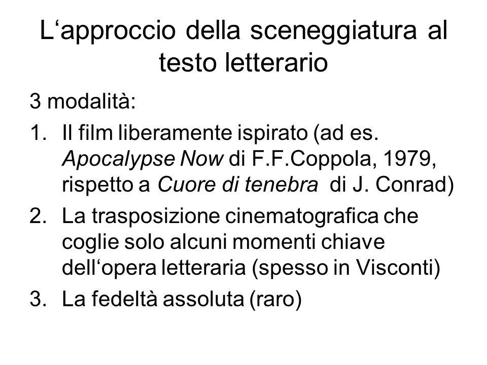 Lapproccio della sceneggiatura al testo letterario 3 modalità: 1.Il film liberamente ispirato (ad es. Apocalypse Now di F.F.Coppola, 1979, rispetto a