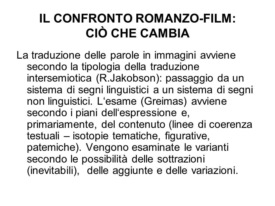 IL CONFRONTO ROMANZO-FILM: CIÒ CHE CAMBIA La traduzione delle parole in immagini avviene secondo la tipologia della traduzione intersemiotica (R.Jakob