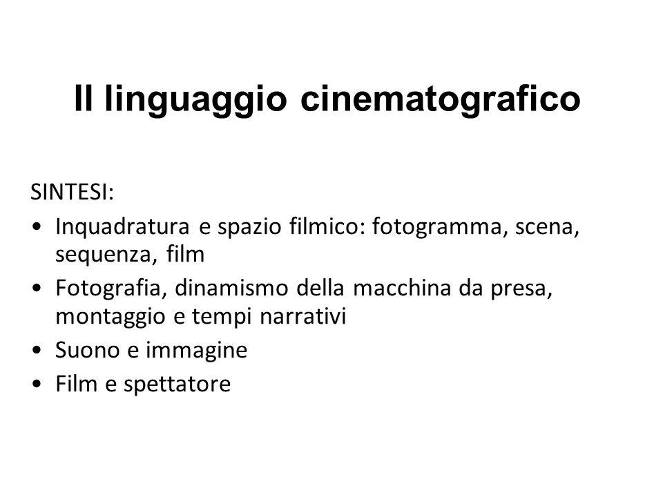 Il linguaggio cinematografico SINTESI: Inquadratura e spazio filmico: fotogramma, scena, sequenza, film Fotografia, dinamismo della macchina da presa,