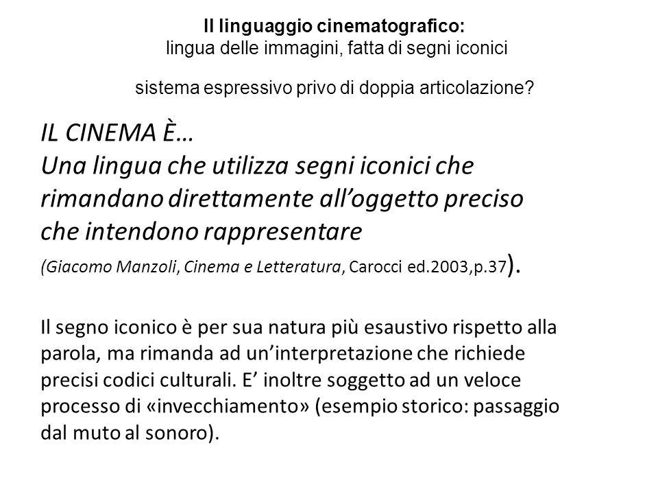 IL CINEMA È… Una lingua che utilizza segni iconici che rimandano direttamente alloggetto preciso che intendono rappresentare (Giacomo Manzoli, Cinema