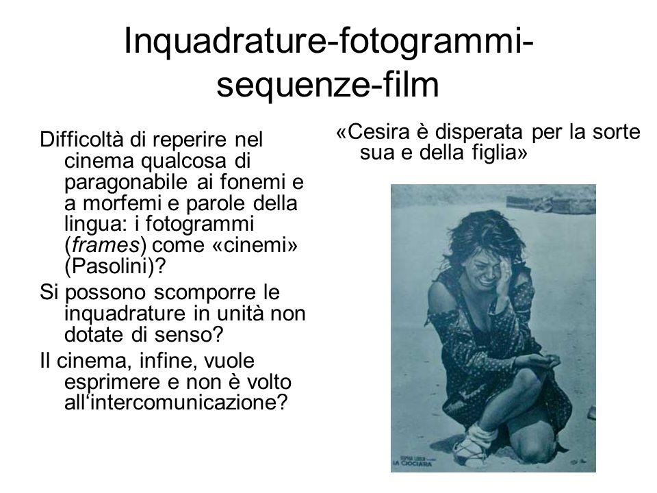 Inquadrature-fotogrammi- sequenze-film Difficoltà di reperire nel cinema qualcosa di paragonabile ai fonemi e a morfemi e parole della lingua: i fotog