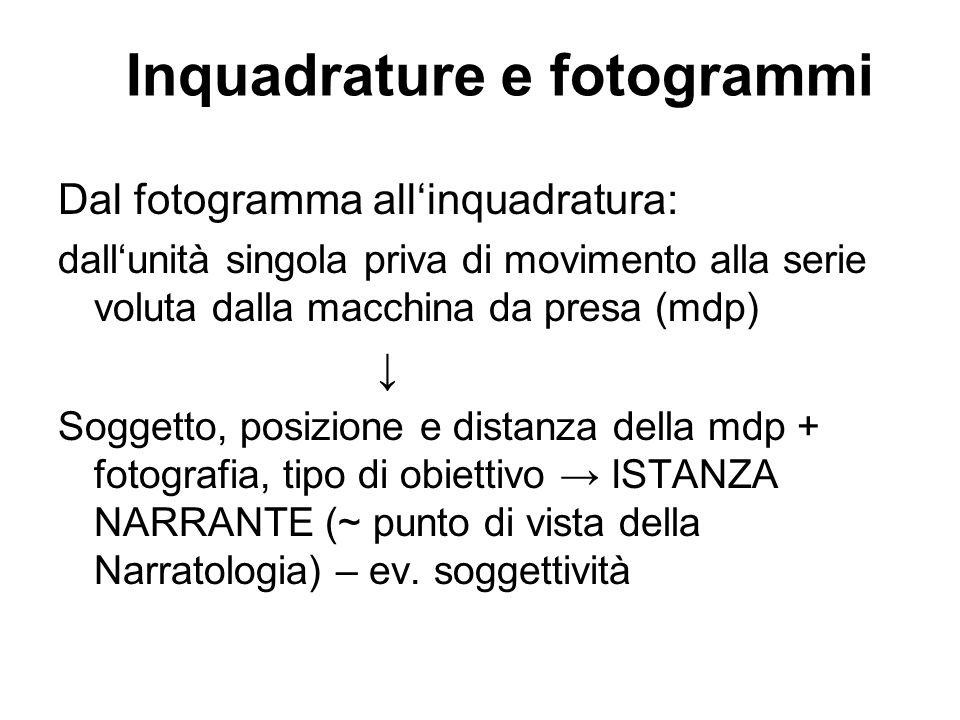 Inquadrature e fotogrammi Dal fotogramma allinquadratura: dallunità singola priva di movimento alla serie voluta dalla macchina da presa (mdp) Soggett