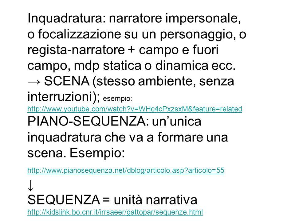 Inquadratura: narratore impersonale, o focalizzazione su un personaggio, o regista-narratore + campo e fuori campo, mdp statica o dinamica ecc. SCENA
