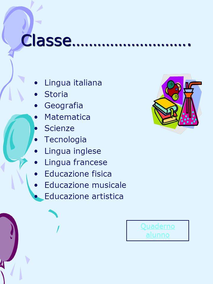 Classe………………………. Lingua italiana Storia Geografia Matematica Scienze Tecnologia Lingua inglese Lingua francese Educazione fisica Educazione musicale E
