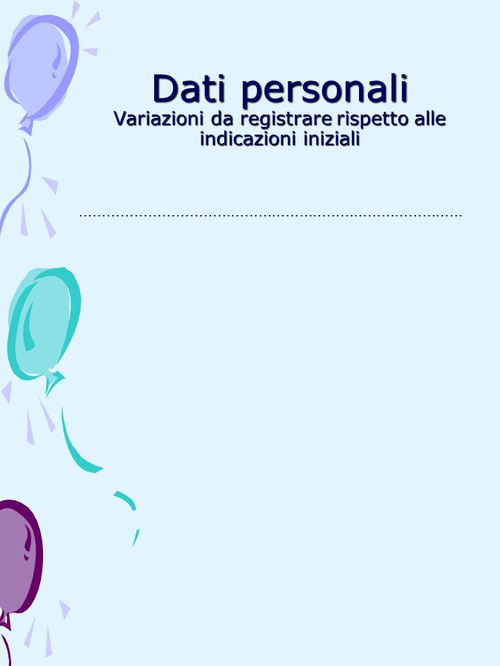 Dati personali Variazioni da registrare rispetto alle indicazioni iniziali …………………………………………………………………………