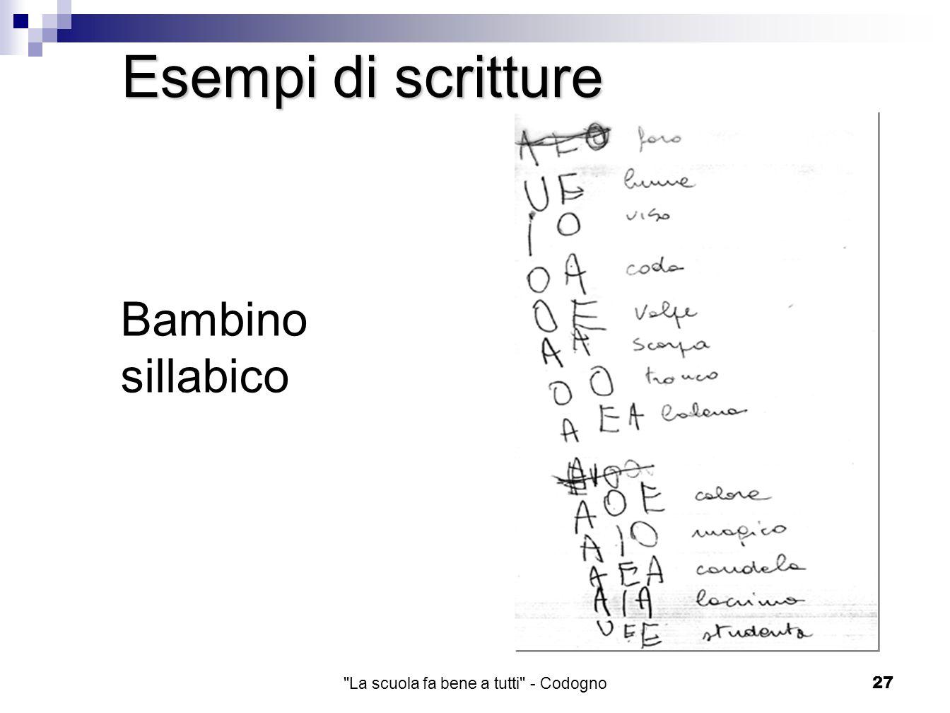 La scuola fa bene a tutti - Codogno27 Bambino sillabico Esempi di scritture