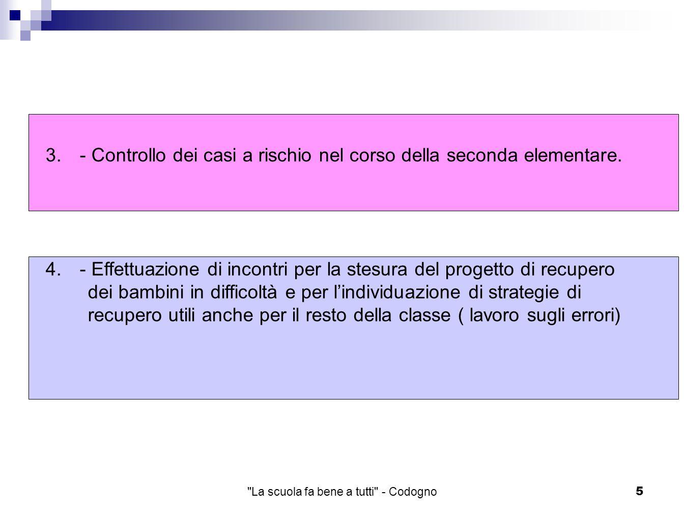 La scuola fa bene a tutti - Codogno5 3.- Controllo dei casi a rischio nel corso della seconda elementare.
