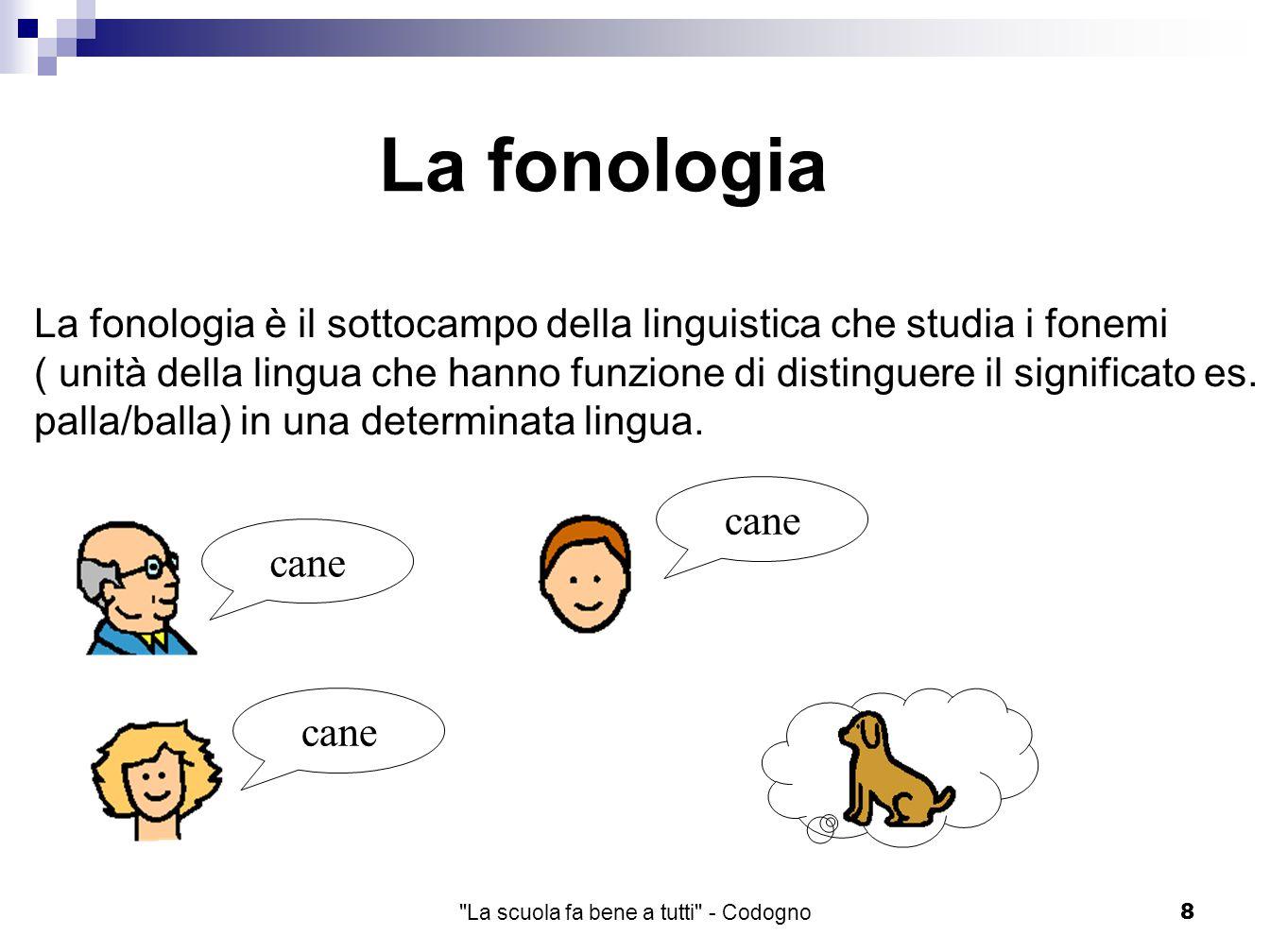 La scuola fa bene a tutti - Codogno8 La fonologia La fonologia è il sottocampo della linguistica che studia i fonemi ( unità della lingua che hanno funzione di distinguere il significato es.