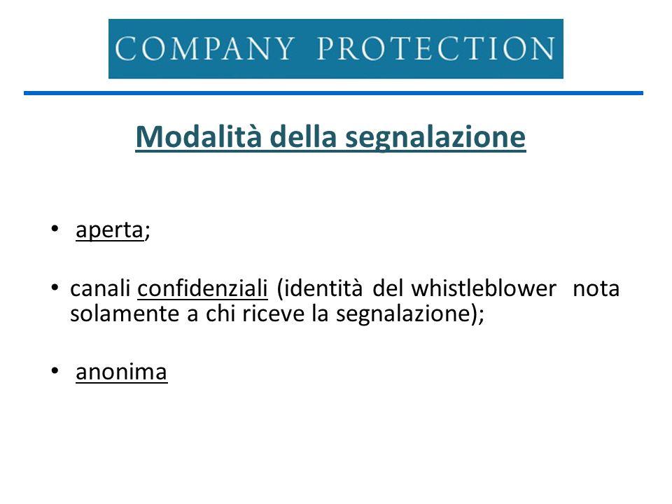 Modalità della segnalazione aperta; canali confidenziali (identità del whistleblower nota solamente a chi riceve la segnalazione); anonima