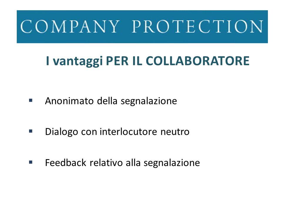 I vantaggi PER IL COLLABORATORE Anonimato della segnalazione Dialogo con interlocutore neutro Feedback relativo alla segnalazione