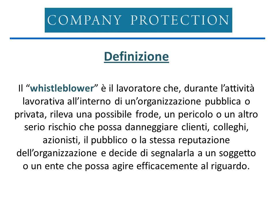 Definizione Il whistleblower è il lavoratore che, durante lattività lavorativa allinterno di unorganizzazione pubblica o privata, rileva una possibile