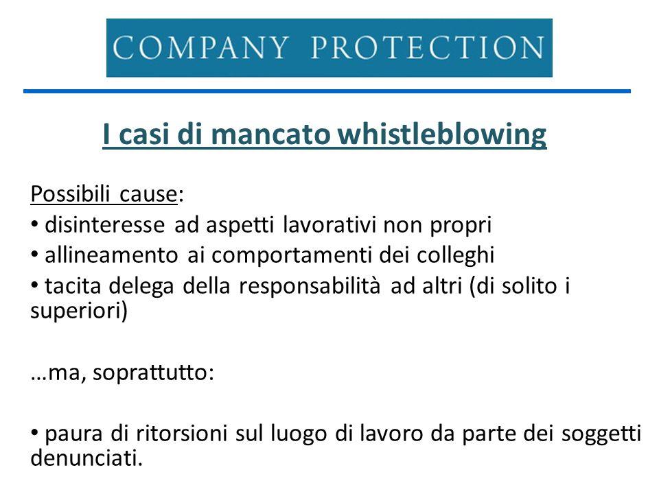 I casi di mancato whistleblowing Possibili cause: disinteresse ad aspetti lavorativi non propri allineamento ai comportamenti dei colleghi tacita dele